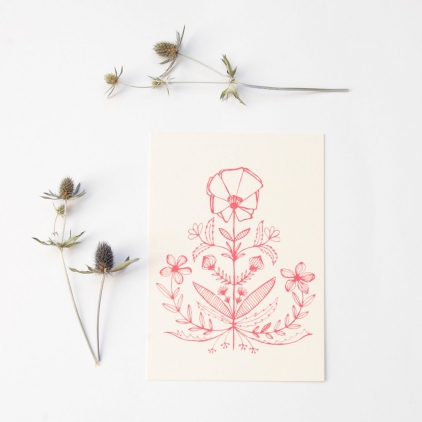 Carte Capucine imprimé rouge sur blanc