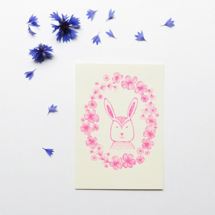 Carte Bunny rose fluo