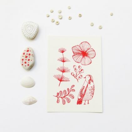 Carte oiseau Uccellino imprimé rouge sur blanc