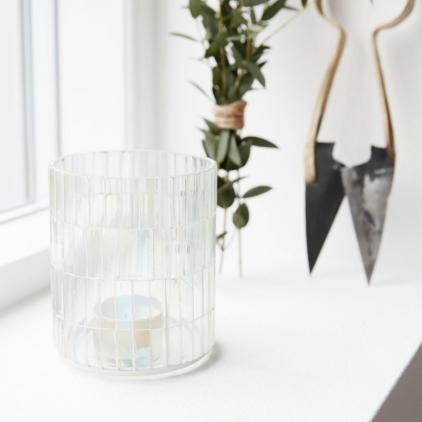 Tealight Mosaic grey 8,5 cm diam