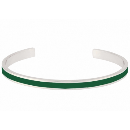 Jonc ajustable Bangle laiton argenté - Emeraude