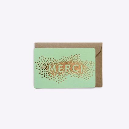 Mini carte Confettis merci - Vert menthe