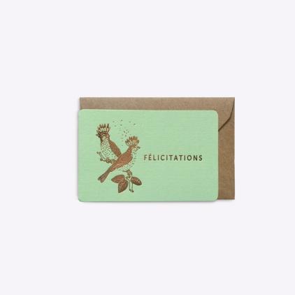 Mini carte Félicitations - Vert menthe