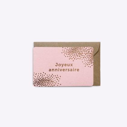Mini carte Joyeux anniversaire - Rose