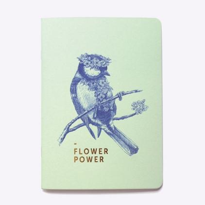 Cahier ligné Flower Power - Vert d'eau