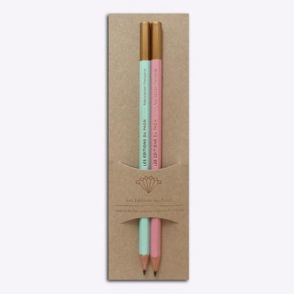 Duo crayons bois - Rose et vert d'eau
