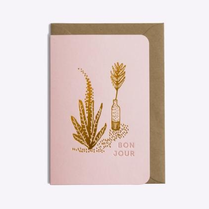 Carte postale Bonjour - Pink