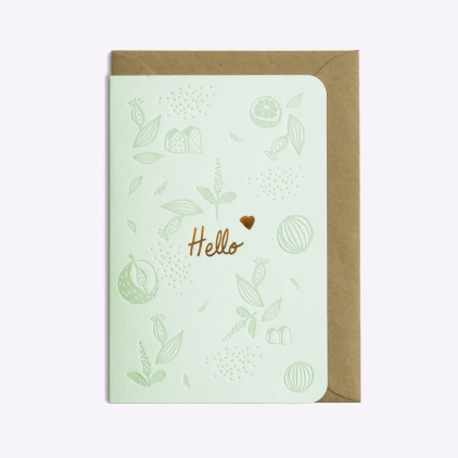 Carte postale Floral Hello - powder green