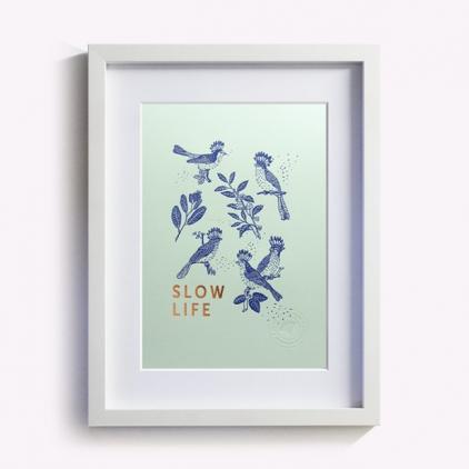 Affichette Slow life - vert d'eau