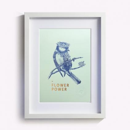 Affichette Flower power - vert d'eau