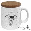 Mug avec son couvercle en liège - Une soupe et au lit