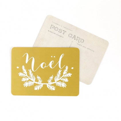 Carte postale Noël mila vieil or