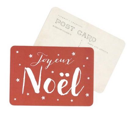Carte postale Joyeux Noël jeanne argile rouge