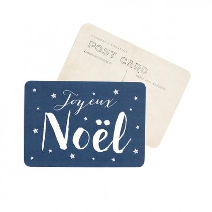 Carte postale Joyeux Noël jeanne bleu nuit