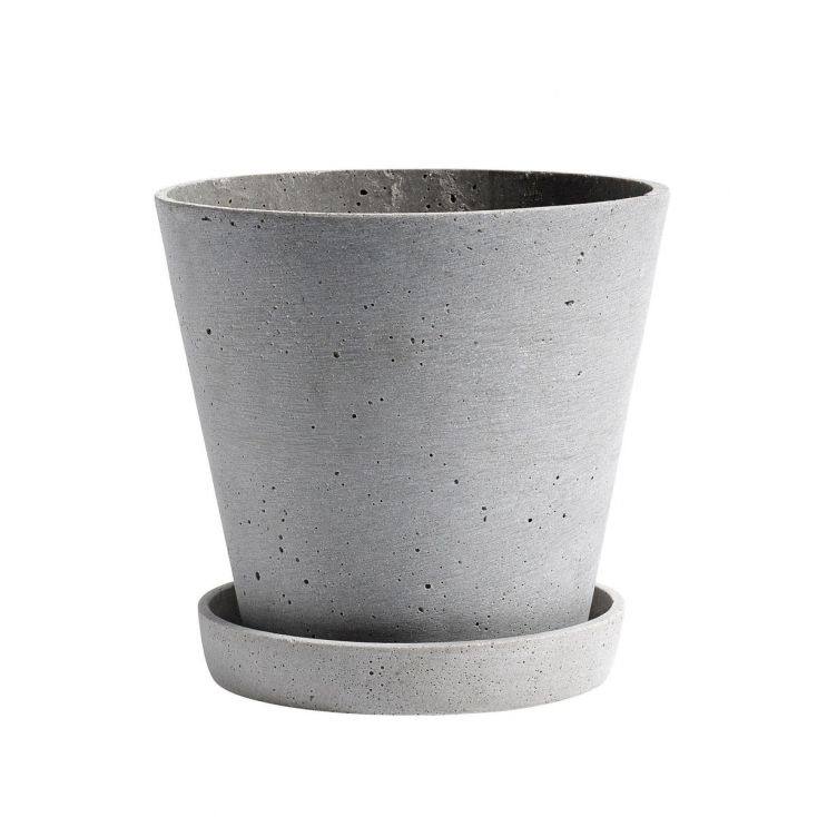 Flower pot with saucer S grey