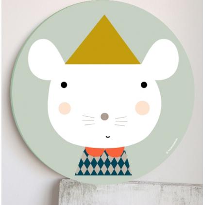 Cadre pour les enfants vert - souris à chapeau