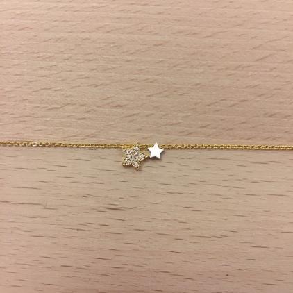 Bracelet doré double étoile dont une strass