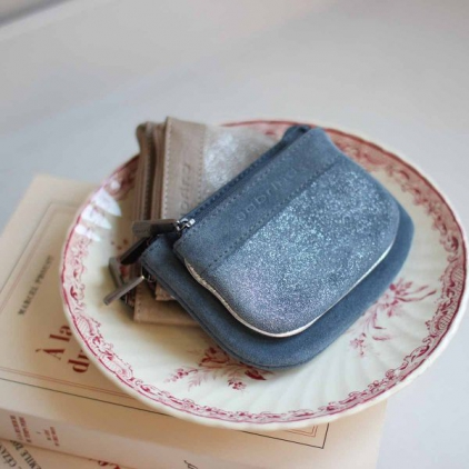 Porte-monnaie cuir vachette Emma pailleté bleu