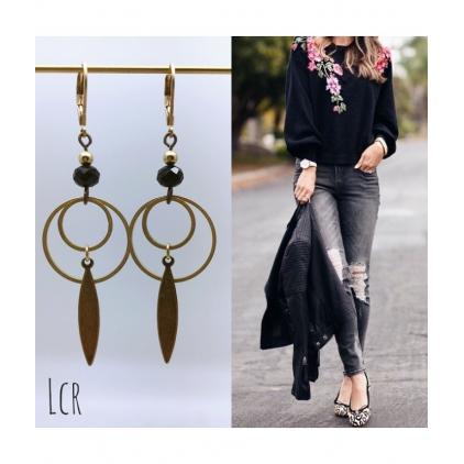 Boucles d'oreilles anneau perle de cristal feuille laiton-noir