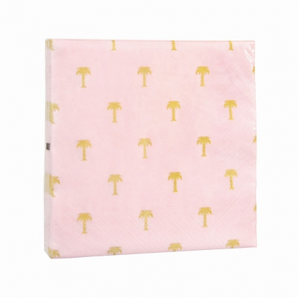 Napkins gold palm tree pink
