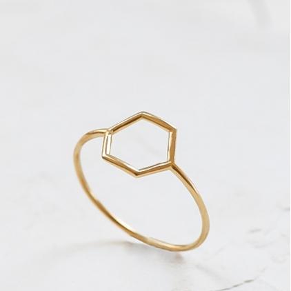 Bague - Hollow hexagon ring gold Medium