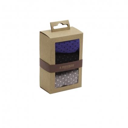 Pack de 3 chaussettes - Pois gris noir bleu