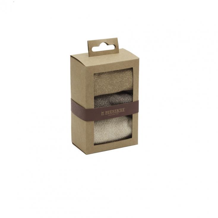 Pack de 3 chaussettes - Jacquard cuivre gris doré