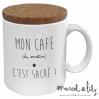 Mug avec son couvercle en liège - Mon café c'est sacré