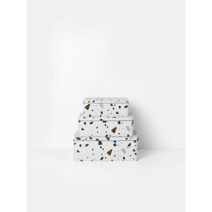 Terrazzo tin box grey small