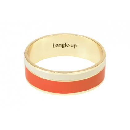Bracelet Vaporetto two-tone 2cm - Tangerine / sand white
