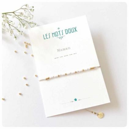 Bracelet Les mots doux - Maman blanc