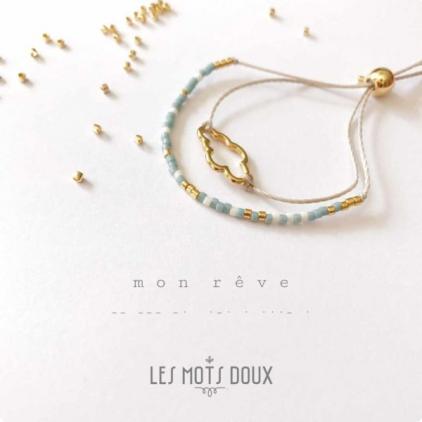 Bracelet double, perles et nuage - Mon rêve