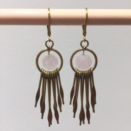 Boucles d'oreilles rayons perles roses
