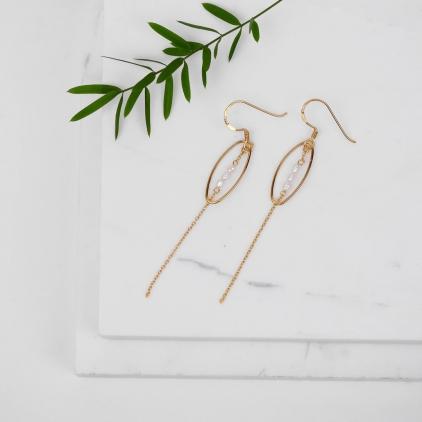 Boucles d'oreilles June plaqué or perles blanches- 10395 Amulette
