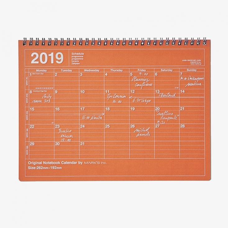 Notebook calendar grande taille orange