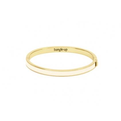 Bracelet Color block avec fermoir métal doré 0,5cm - Blanc sable