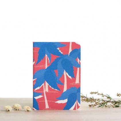Carnet A6 - Dorian (palmiers bleus sur fond rouge) - lignes