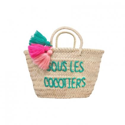 Panier pompon brodé pour enfant - Sous les cocotiers