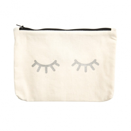 Canvass pouch-eyes Silver