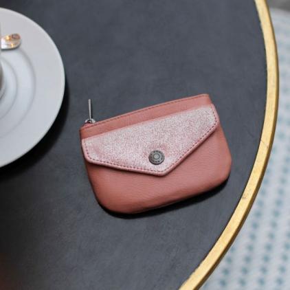 Emmy - portemonnaie cuir vachette Pétale pailleté