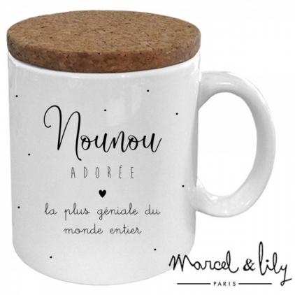 Mug avec son couvercle en liège - Nounou adorée