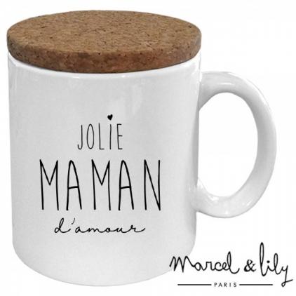 Mug avec son couvercle en liège - Jolie maman