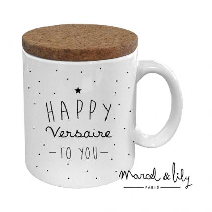 Mug avec son couvercle en liège - Happy versaire