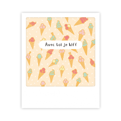 Mini carte postale Avec toi je kiff MP0451FR