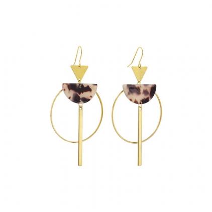 Boucles d'oreilles acétate - demi lune acétate, rond, tige et triangle doré