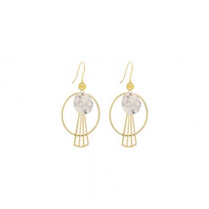 Boucles d'oreilles laiton et pierre ronde blanche, cercle et piece lignée