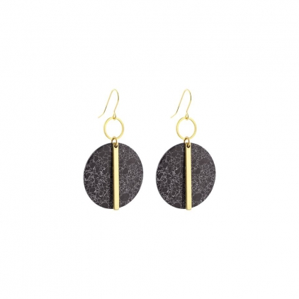 Boucles d'oreilles laiton et pierre ronde noire marbre, tige dorée