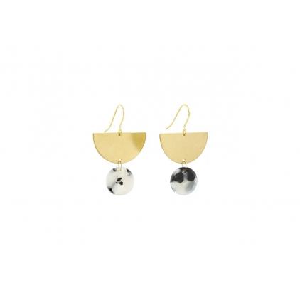 Boucles d'oreilles acétate ronde et demi lune laiton