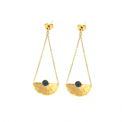 Boucles d'oreilles Thais chain - agate bleue