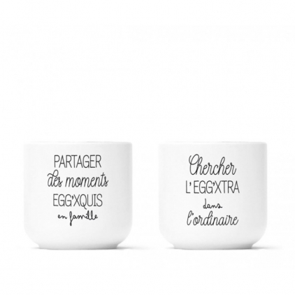 Pack 2 coquetiers porcelaine - Egg